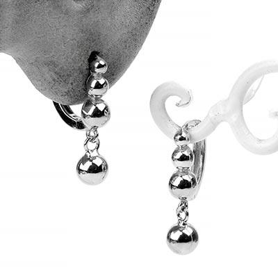 Silver Beaded Ball Huggie Earring