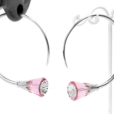 Sterling Silver Tsabit Design with Pink Glass Flowers