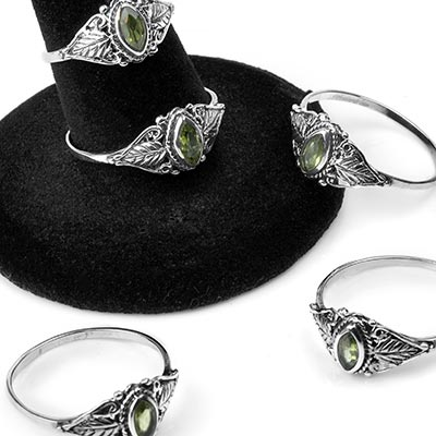 Silver and Peridot Leaf Ring
