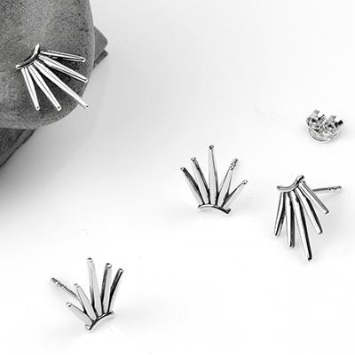 Silver 5-Spike Stud Earrings