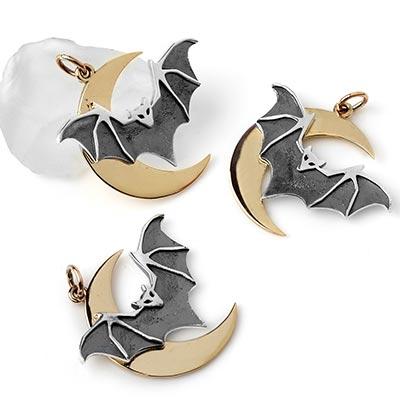 Silver and Bronze Midnight Flight Bat Pendant