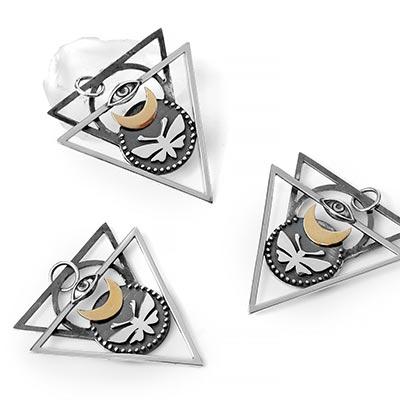 Silver and Bronze Tetra Moth Pendant