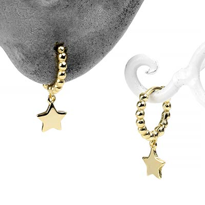 Beaded Star Huggie Earring