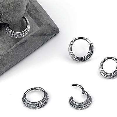 Titanium Pave Three Ring Clicker