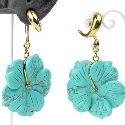 Solid Brass and Synthetic Turquoise Flower Weights