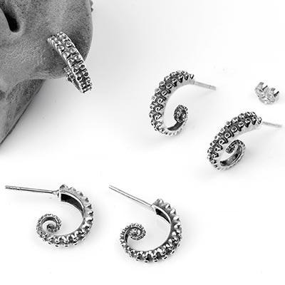 Silver Tentacle Stud Earrings