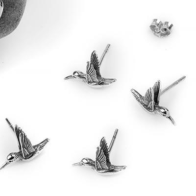 Silver Hummingbird Stud Earrings