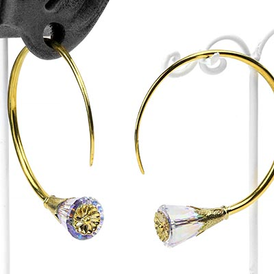 Solid Brass Tsabit Design with AB Swarovski Crystal Flowers