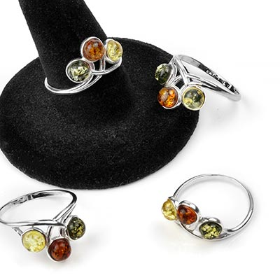 Silver and Triple Amber Crown Ring