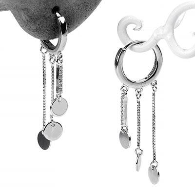 Silver Chandelier Huggie Earring