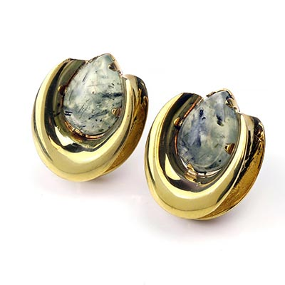 Solid Brass Saddles with Prehnite