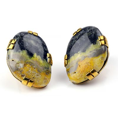 Solid Brass Plugs with Free Form Bumble Bee Jasper