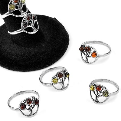 Silver and Amber Tree of Life Ring