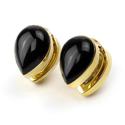 Solid Brass Spade Weights with Black Obsidian