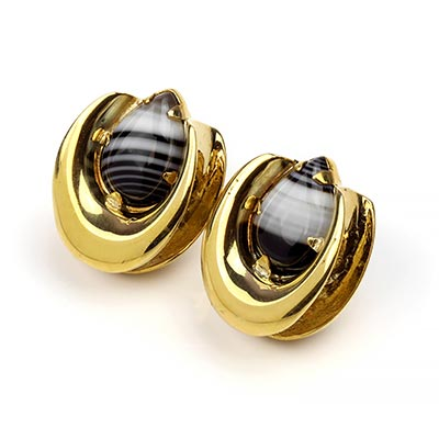 Brass Saddles with Banded Agate