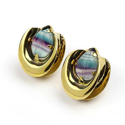 Solid Brass Saddles with Fluorite