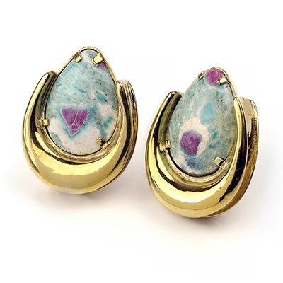 Solid Brass Saddles with Ruby Fuchsite