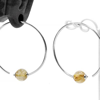 Sterling Silver Round Dew Drop Design with Rutilated Quartz