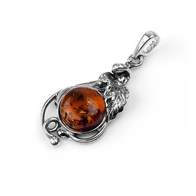 Silver and Amber Leaf Pendant