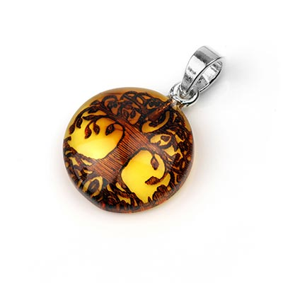 Carved Tree of Life Amber Pendant