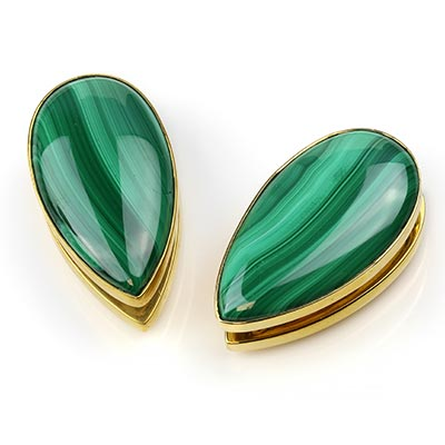 Solid Brass Long Spade Weights with Malachite