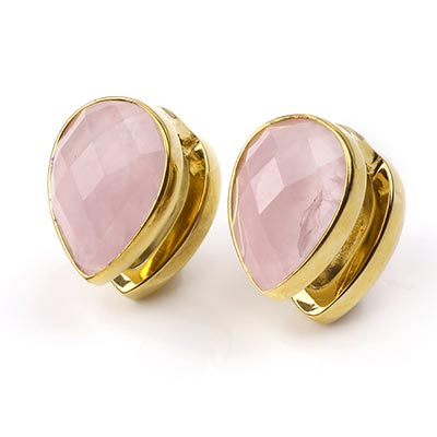 Solid Brass Spade Weights with Faceted Rose Quartz