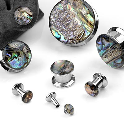 Steel and Abalone Shell Plugs