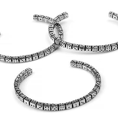 Steel Dice Cuff Bracelet