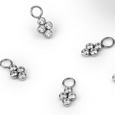 Titanium Quad Gem Dangle Charm