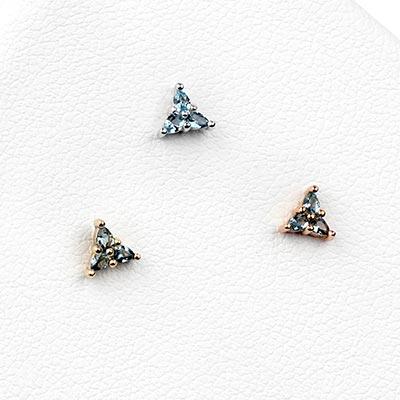 Solid 14k Gold 3 Little Pears Threadless End - London Blue Topaz