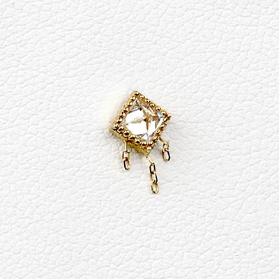 Solid 14k Gold The Hustle Threadless End with CZ Gems