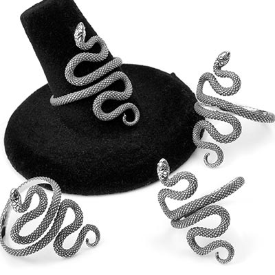Silver Adjustable Winding Serpent Ring