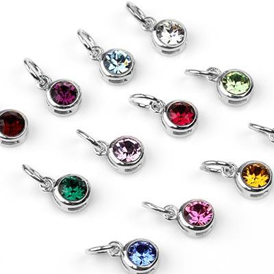Silver Birthstone Charm Pendants