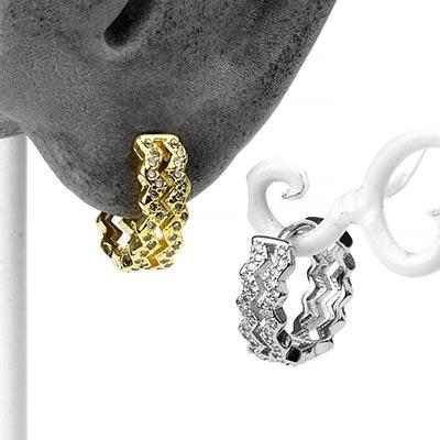 Zig-Zag Gem Huggie Earring