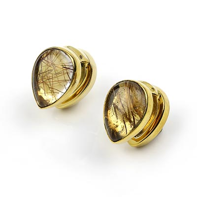 Solid Brass Spade Weights with Rutilated Quartz
