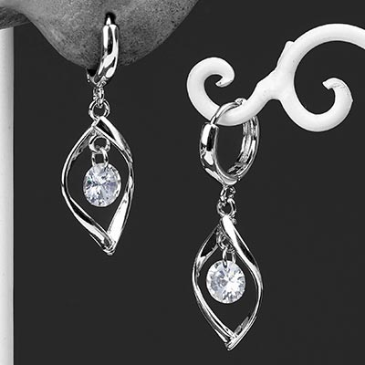 Silver Crystal Drop Huggie Earring