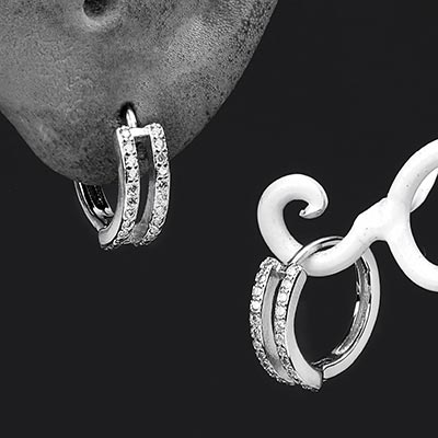 Silver Dual Gem-Lined Huggie Earring