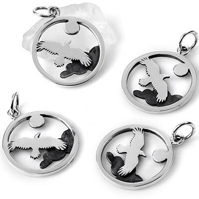 Silver Soaring Raven Pendant