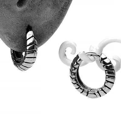 Steel Ridged Huggie Earring
