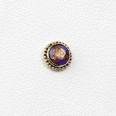 14k Gold Threadless End with Copper Charoite