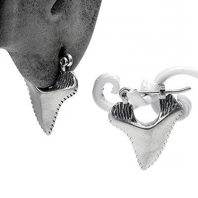 Sterling Silver Shark Teeth Huggie Earrings