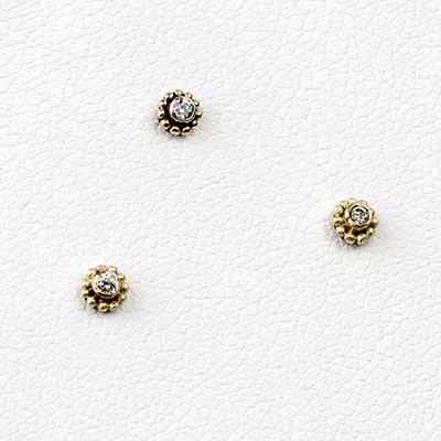 14k Gold Threadless End with Diamond