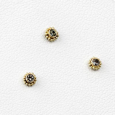 14k Gold Threadless End with Grey Sapphire