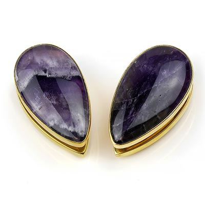 Solid Brass Long Spade Weights with Amethyst