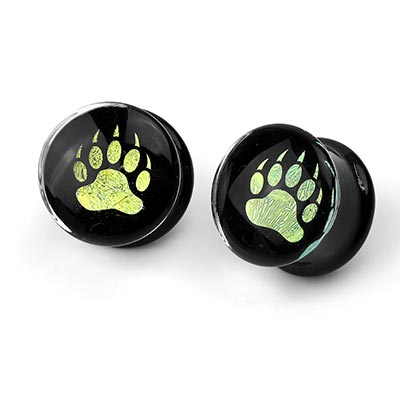 Glass Bear Claw Dichro Image Plugs