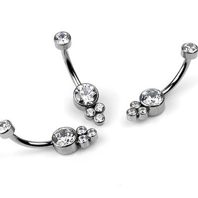 Titanium Navel With Trio Cluster Gems