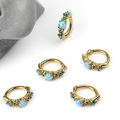 Side Set Blue Synthetic Opal Clicker Ring