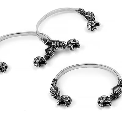 Steel Memento Mori Cuff Bracelet