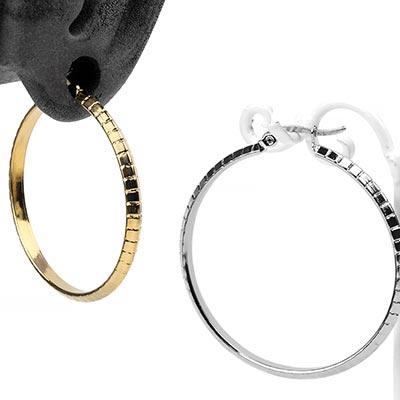 Banded Steel Hoop Earrings