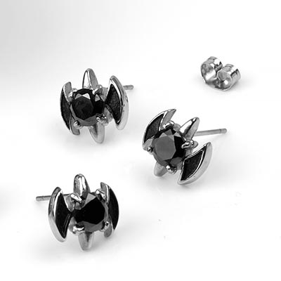 Midnight Bat Stud Earrings
